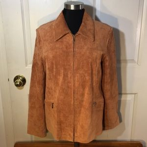 Suede jacket zipper brown Sz M Pendelton
